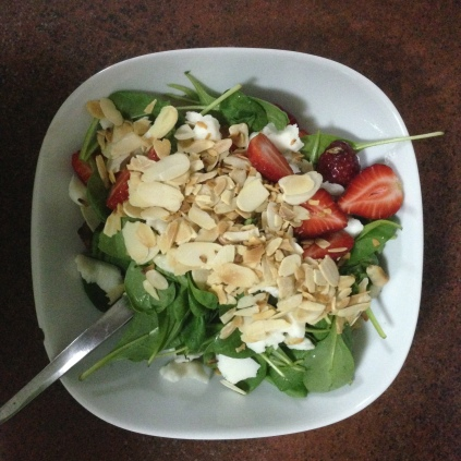Too much Strawberry and Spinach Salad with Soggy Quinoa and Passable Goat Cheese