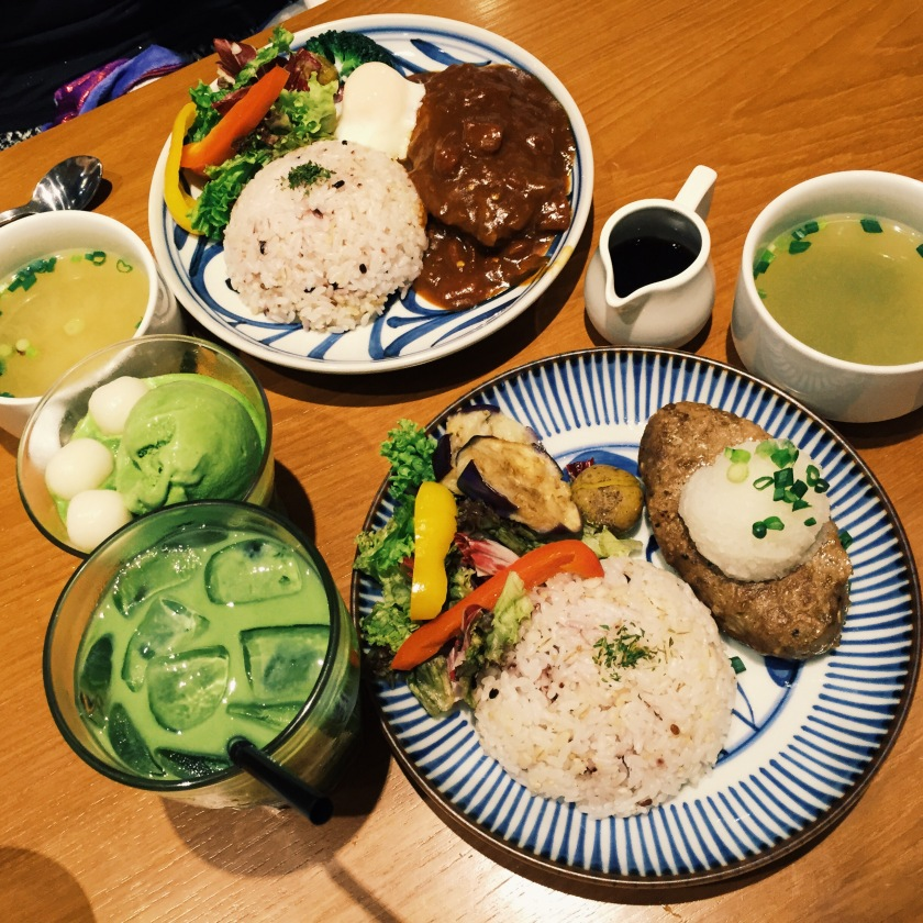 Something hamburg and something hamburg (both came with a side of rice/barley ad grilled veggies) with a matcha latte and matcha ice-cream and dumplings on matcha frappe (this is not an option for the set lunch)