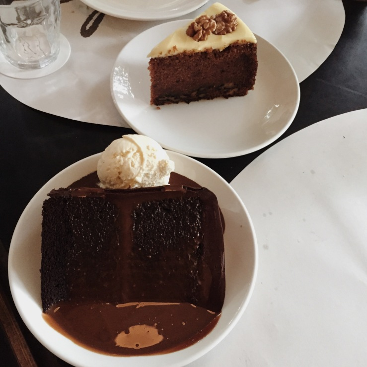 Chocolate blackout cake and carrot cake