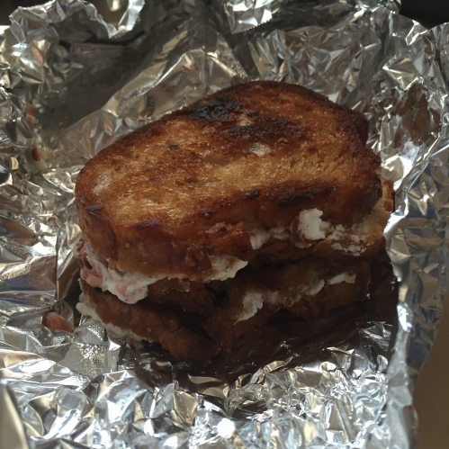 Off-putting morning goat and jam grilled cheese sammies
