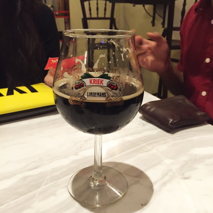 Not actually my beer (I can't drink the dark stuff) but this a preview of the pretty glasses they serve them in!