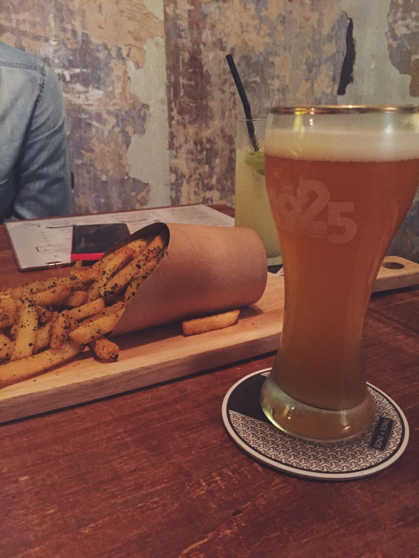 Wasabi Fries and a half-pint of Yellow Van