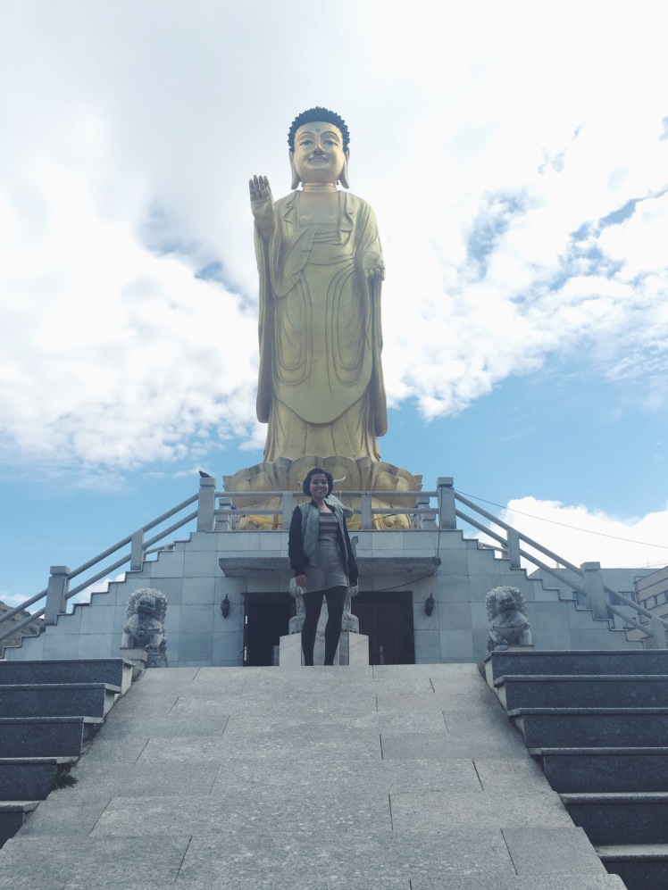 Buddha statue and me! I used a VSCO filter