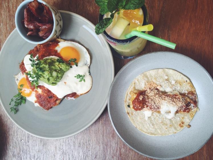 Super Huevos Rancheros (SGD 20) and the Taco de Desayuno (SGD7) with a side of baconnn