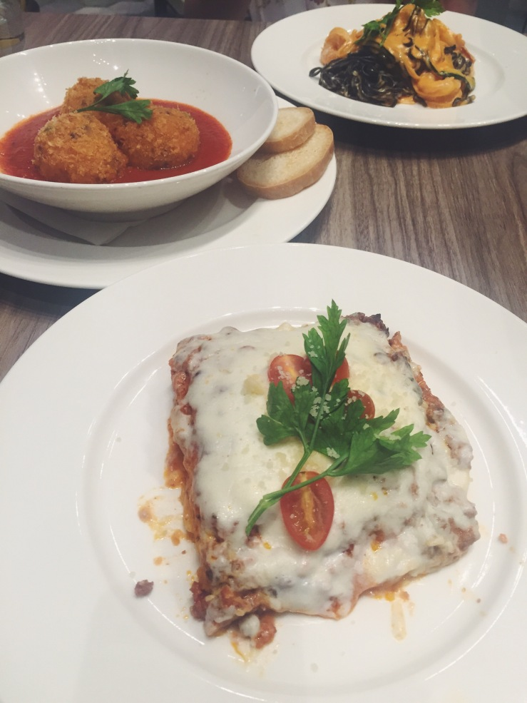 From the bottom to teh top :P: Polenta lasagne (SGD18), Arancini with ragù and tomato sauce (SGD8) and Egg and squid ink tagliolini with shrimp and zucchini (SGD18)